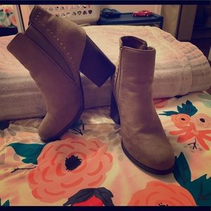 Taupe booties with gold studs